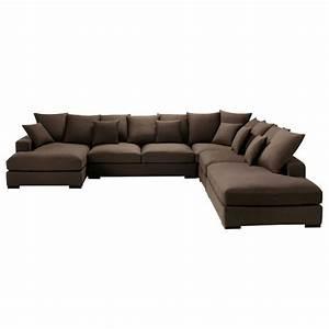 Canapé D Angle 7 Places : canap d 39 angle modulable 7 places en coton chocolat loft ~ Melissatoandfro.com Idées de Décoration