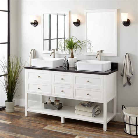 60quot robertson double vessel sink vanity white bathroom