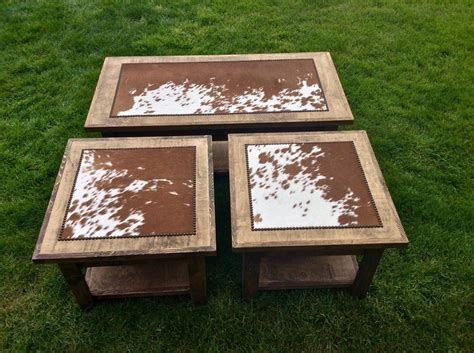 set of 3 tables with cowhide nailheads end tables