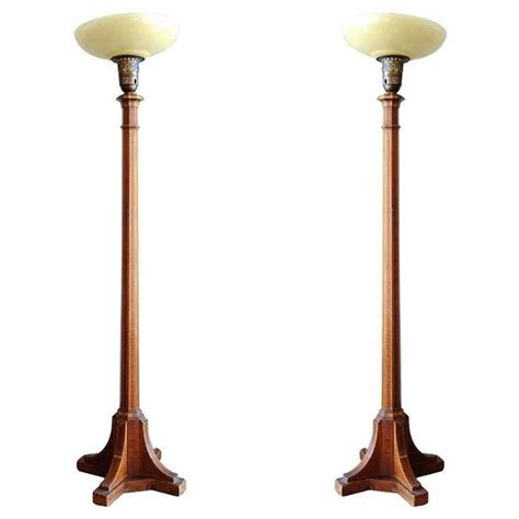 floor l torchiere art deco mahogany torchiere floor l pair for sale at 1stdibs