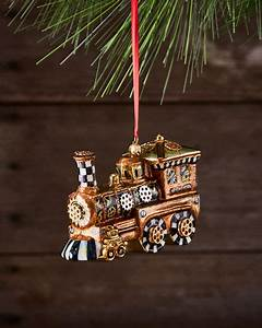 MacKenzie Childs Steampunk Train Glass Ornament Neiman