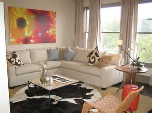 apartments modern small living room decor ideas with white sectional sofa and animal rug