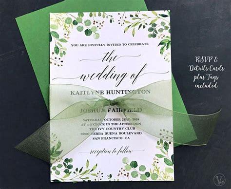 rustic greenery wedding invitation printable floral