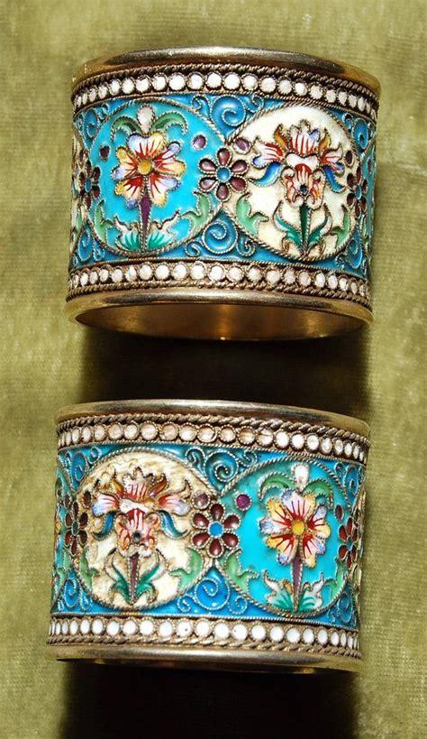 silver napkin rings cloisonne russian enamel  antique