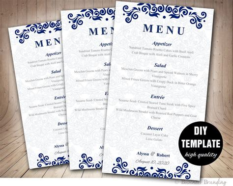 menu card template diy printable wedding menu card blue