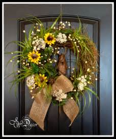 artificial sunflowers summer wreaths sunflower rustic wreaths burlap wreath floral