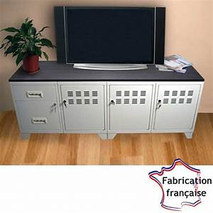 Meuble tv metal blanc style industriel so french deco for Meuble style industriel