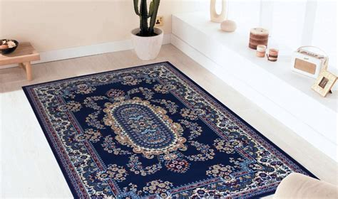 tapis pas cher dessin royal shiraz 2063 blue webtapis fr