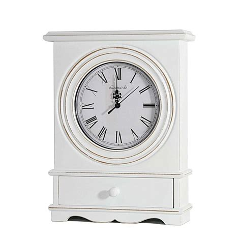 shabby chic table clock large shabby chic french vintage style white table clock with drawer lp27101 ebay