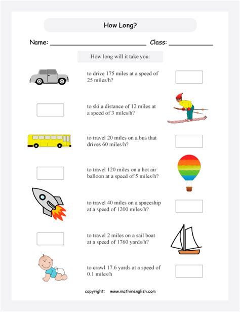 speed distance time maths worksheets grade 5 or 6 math