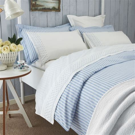 Sanderson Tiger Stripe Blue & White Bed Linen Oxford