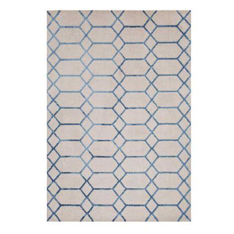 tapis contemporain graphique beige et bleu en viscose