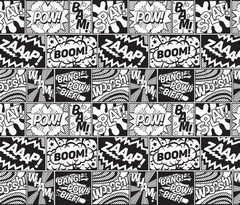 modern comic book superhero pattern black white large