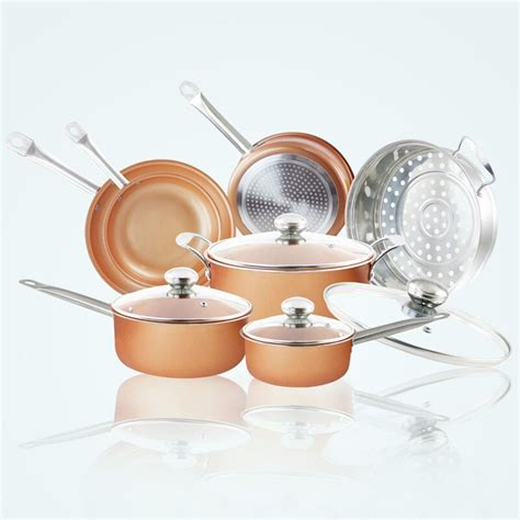 grand innovation  pieces copper pan cookware hard anodized set  glass lid kgi