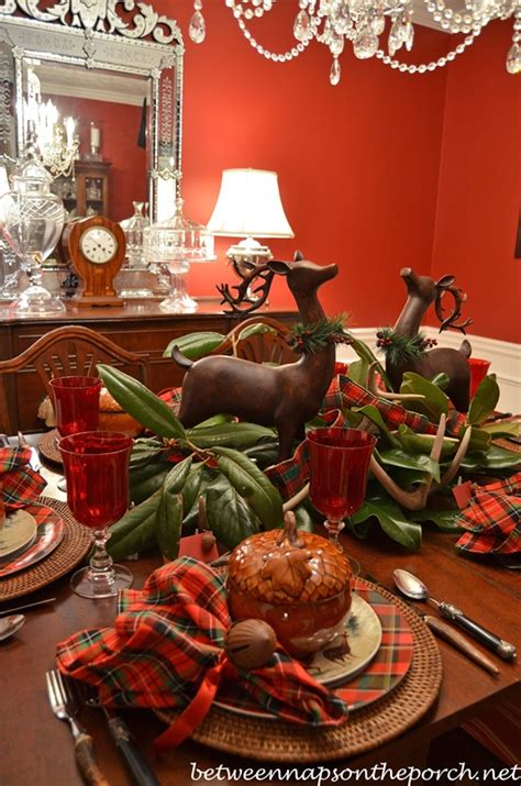 deer antlers and plaid for christmas tablescape cozy woodland setting with antler deer centerpiece
