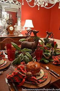 A Christmas Party Tablescape Table Setting with a Deer and
