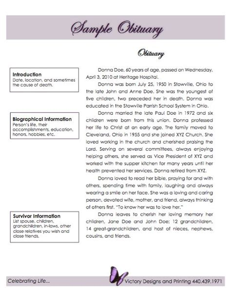 Obituaries Exles Templates by 25 Obituary Templates And Sles Template Lab