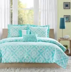 twin twin xl girls teen teal blue white modern geometric comforter bedding set teal blue