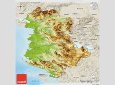 Physical Panoramic Map of Albania, shaded relief outside