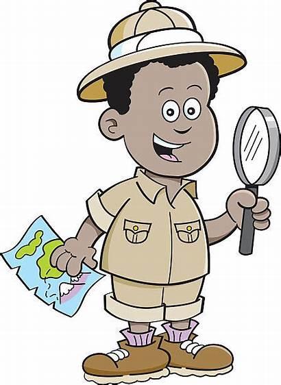 Explorer Cartoon Boy African Clipart Beeldverhaal Jongen