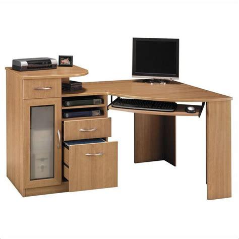 light wood corner desk bush furniture vantage corner home office wood light