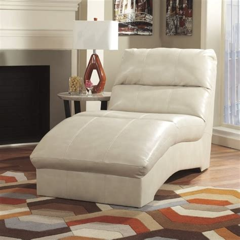 ashley paulie leather chaise lounge  taupe
