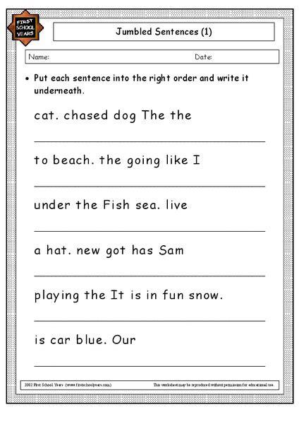 jumbled sentences worksheet  st  grade lesson
