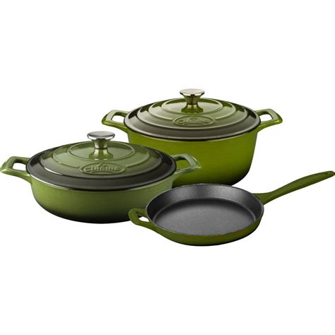 la cuisine la cuisine 5 enameled cast iron cookware set with