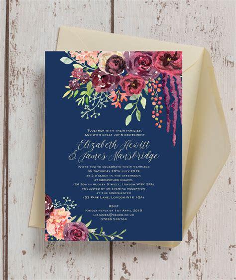 navy burgundy floral wedding invitation