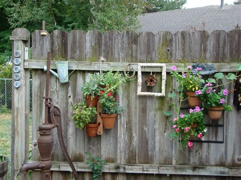 and rustic backyard garden fence decoration with