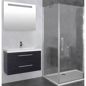 paroi de douche d39angle porte battante helia b robinet With porte de douche coulissante avec meuble d angle suspendu salle de bain