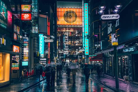 rainy evening  tokyo cyberpunk