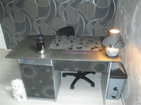 bureau customisé en gris et argent créations décoration