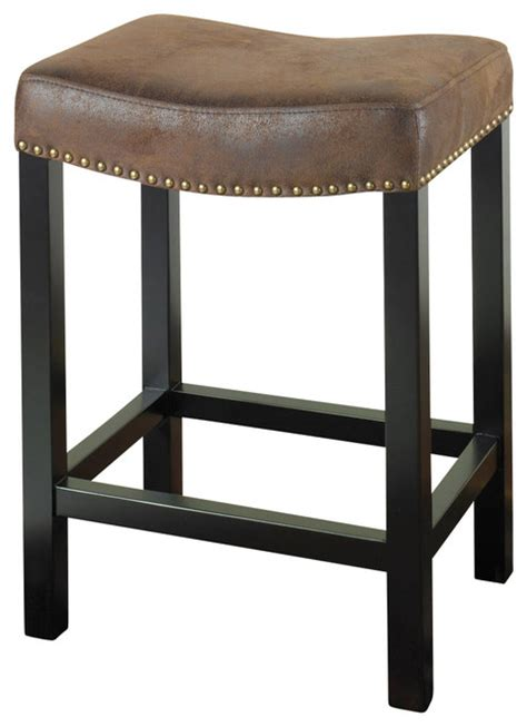 tudor backless brown fabric covered bar stool