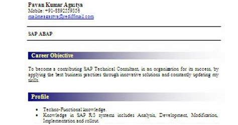 sap abap fresher resume sle resume model