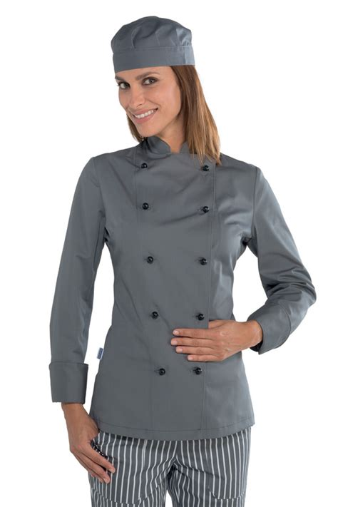 veste cuisine chef grise vêtement de cuisine mylookpro