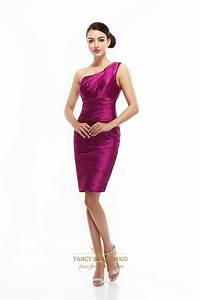 Hot Pink One Shoulder Knee Length Sheath Ruched Satin ...