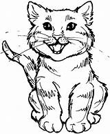 Coloring Cat Cute Kitty Roaring Meal Cats Play sketch template