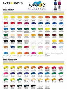 Daler Rowney Colour Chart Daler Rowney System 3 Colour Chart Art Studio