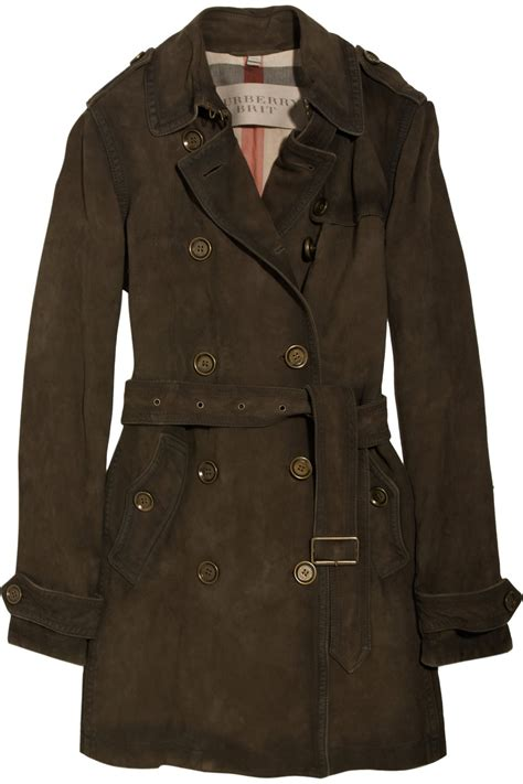 burberry brown burberry suede trench coat in brown lyst