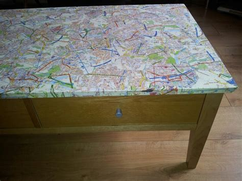 decoupage my coffee table with maps diy pinterest