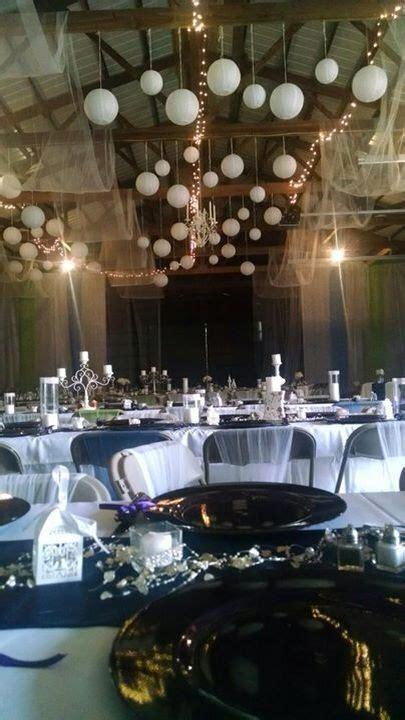 machine shed wedding lanterns lights tulle