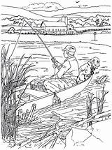 Coloring Pages Country Fishing Living Rowboat Farm Colouring Characters Pisces sketch template