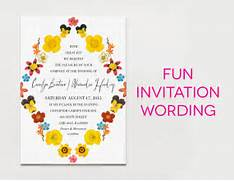 White Wedding Invitation With Black Type And Brightly Colored Flowers Please Join Us Rather Than The Formal Request The Honor Of Your Anniversary Invitation Ideas Invitation Ideas For Wedding Wedding Invitation Wording 300x300 Formal Wedding Invitation Wording