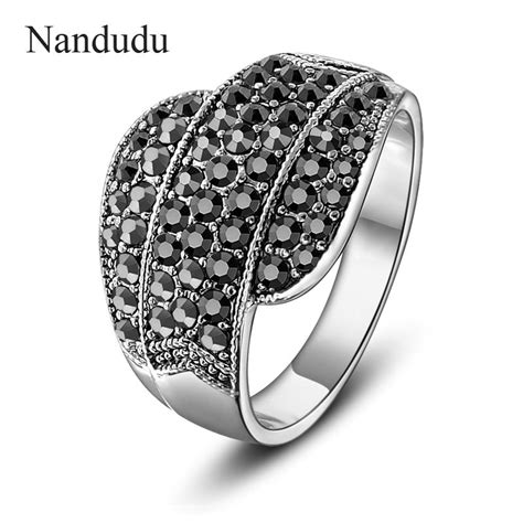 nandudu fashion black austrian crystals rings women