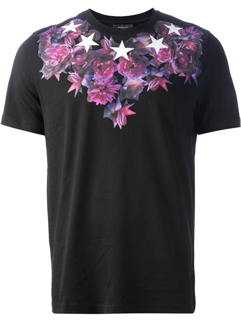 sleeve pinstriped shirt lyst givenchy flower and print tshirt in black for