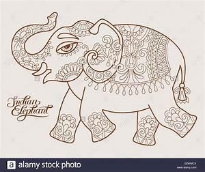 Original Stylized Ethnic Indian Elephant Pattern Drawing