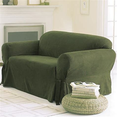 Sofa And Loveseat Slipcovers Sets by Soft Micro Suede Solid Green Slipcover Set Sofa