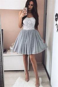 Sweetheart Grey Lace Homecoming Dresses,Short Party ...