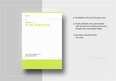 Construction Business Plan Template In Word, Google Docs
